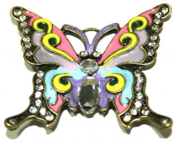 1 x Antique Brass Butterfly Pendant in Multi-colour 60x52mm - S.F03 - WC046 - 2502120